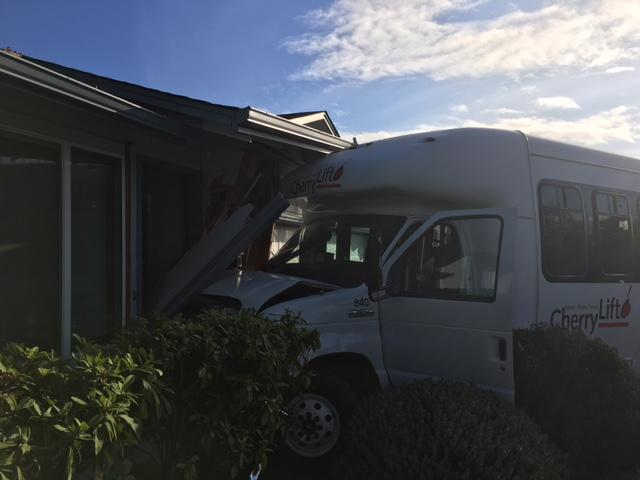 A bus driver suffered a medical issue Monday and crashed the vehicle into a house, the Marion County Sheriff's Office said. (MCSO photo)