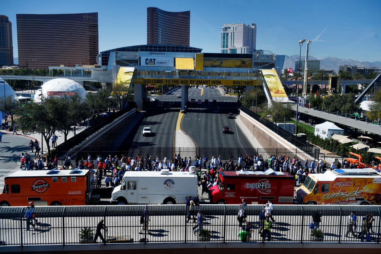 Food trucks line the overpass between the South and Central Halls during the first day of the 2017 CONEXPO-CON/AGG convention Tuesday, March 7, 2017, at the Las Vegas Convention Center. [Sam Morris/Las Vegas News Bureau]