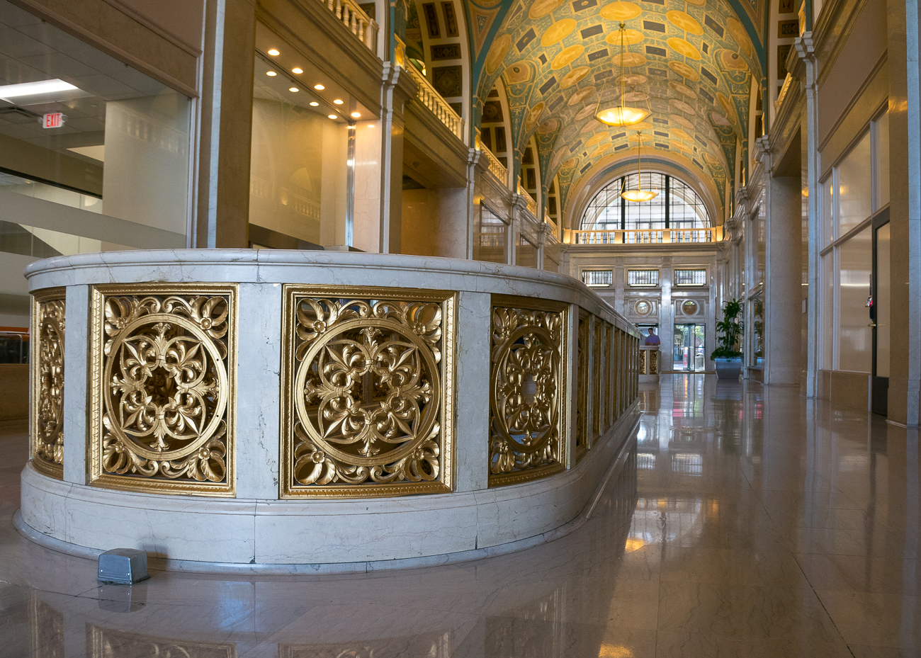 Today, Great American Insurance Company has offices with around 1400 employees in the building. During weekday work hours, visitors are permitted to enter the lobby to admire the 2-story ornate atrium and Art Deco details. / Image: Phil Armstrong, Cincinnati Refined // Published: 10.3.18