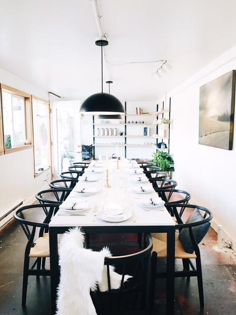 The inside of the Not Without Salt retail location hosts a long table for private parties, intimate workshops and community space. (Image Credit: Ashley Rodriguez)