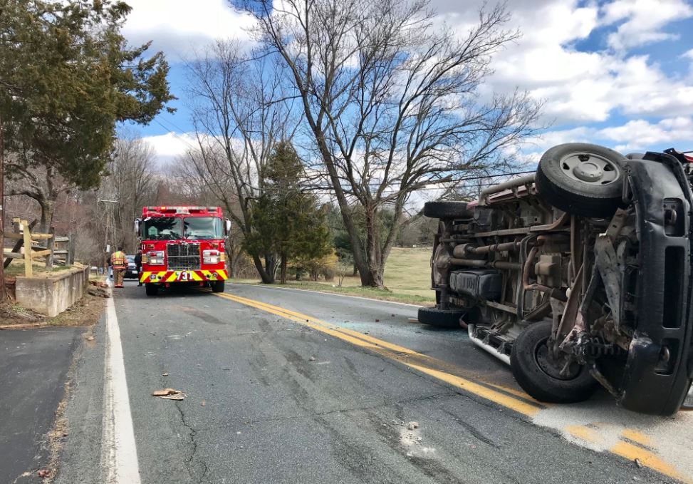 Overturned truck blocks traffic in Montgomery County (Photo: Pete Piringer, Montgomery County Fire and Rescue Service)