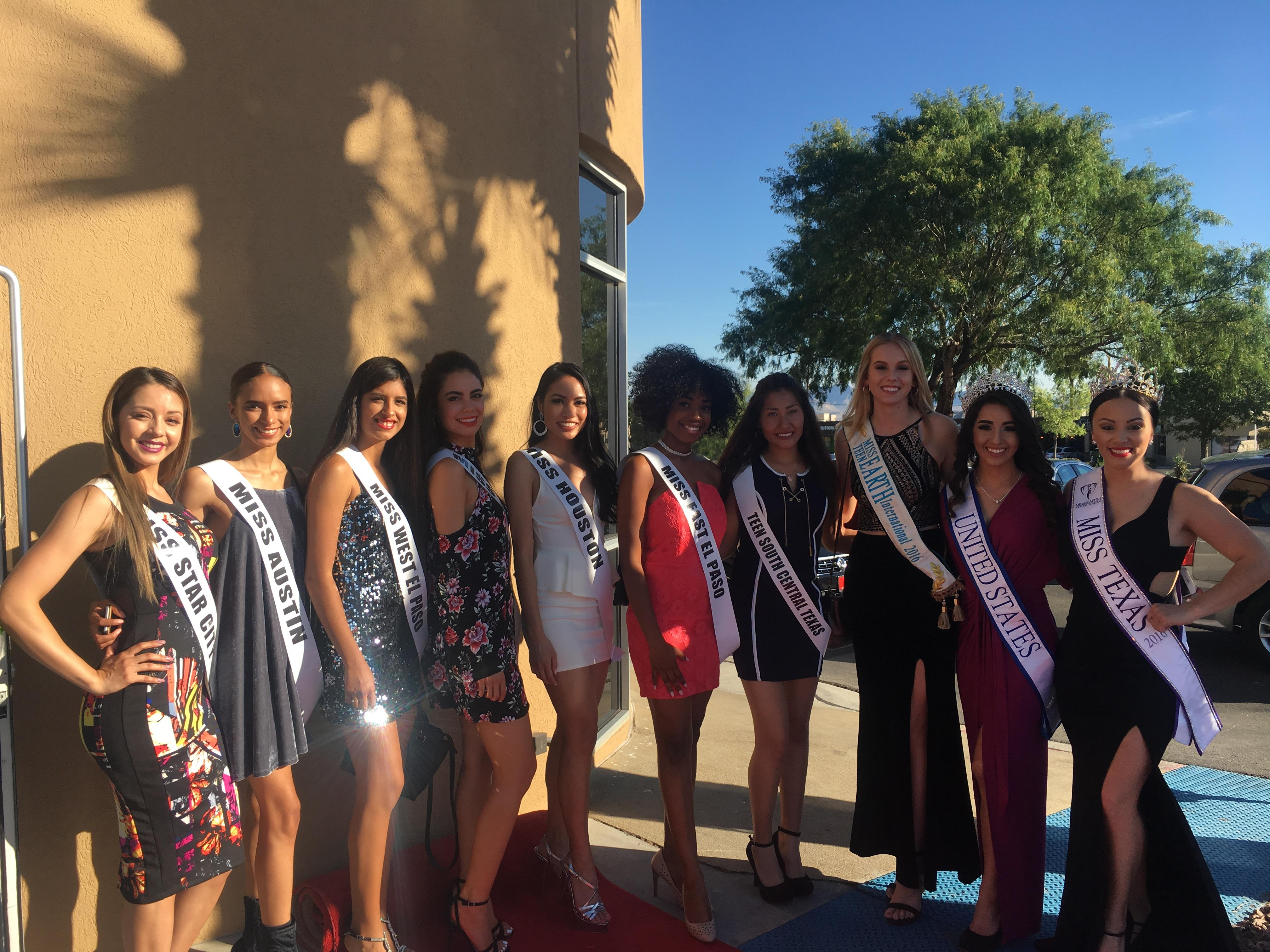The first wave of contestants vying for the titles of Miss Texas Earth and Teen Miss Texas Earth walk the red carpet at Cafe Grille.