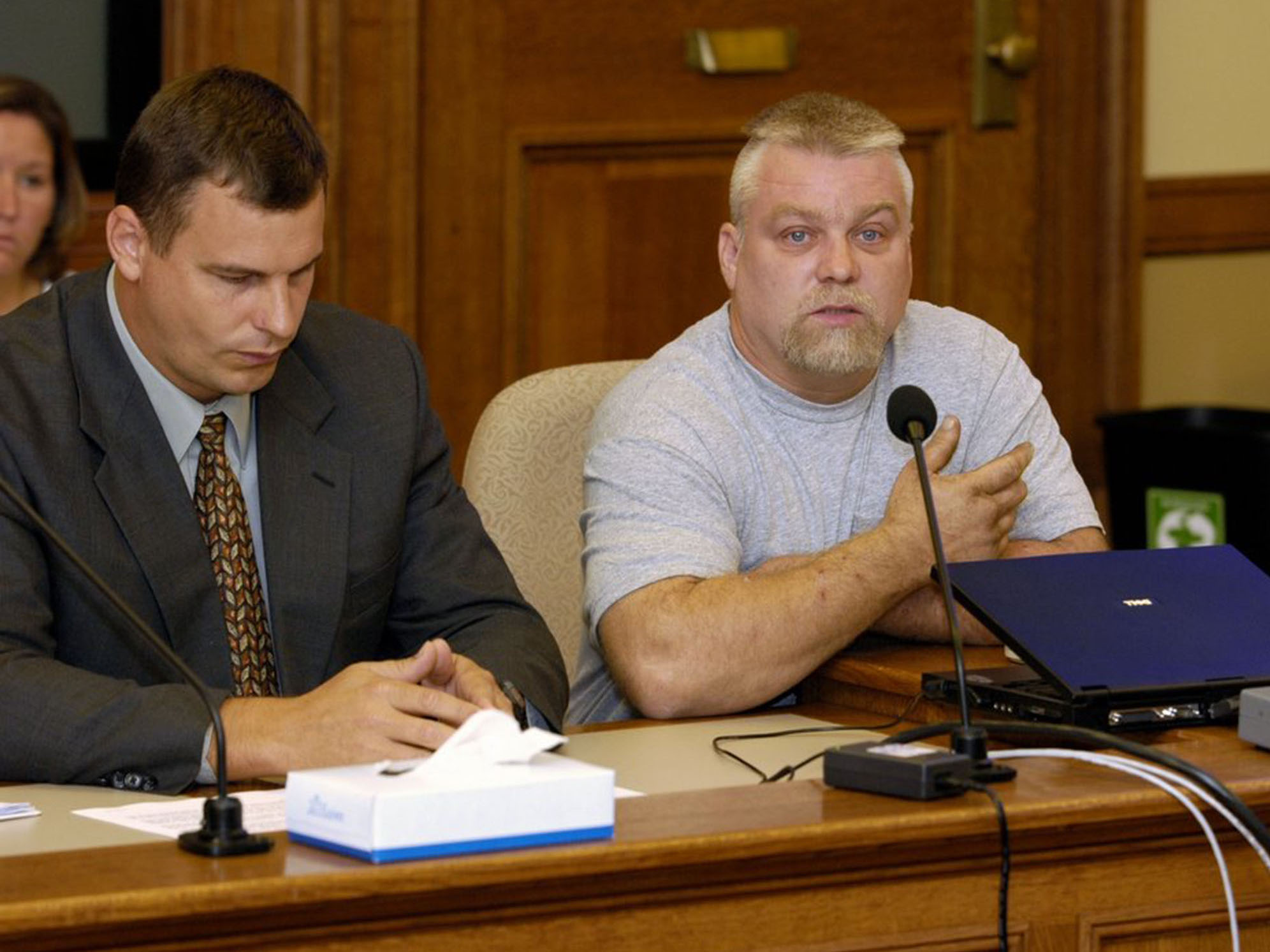 "This image released by Netflix shows Steven Avery, right, in the Netflix original documentary series ""Making A Murderer."" (Netflix via AP)"