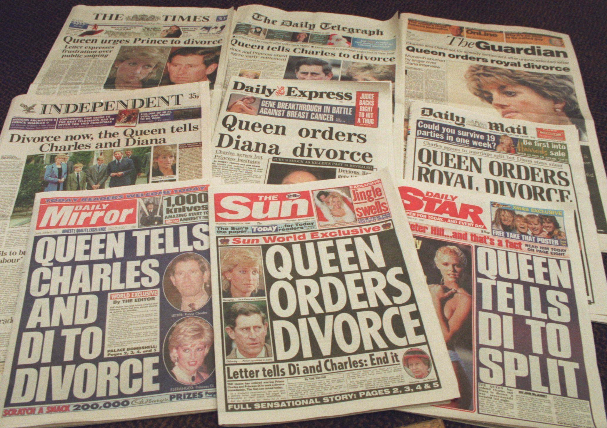 "FILE - This Thursday, Dec. 21 1995 file photo shows the London newspapers front page headlines. It has been 20 years since the death of Princess Diana in a car crash in Paris and the outpouring of grief that followed the death of the ""people's princess."" (AP Photo/Martin Cleaver, File)"