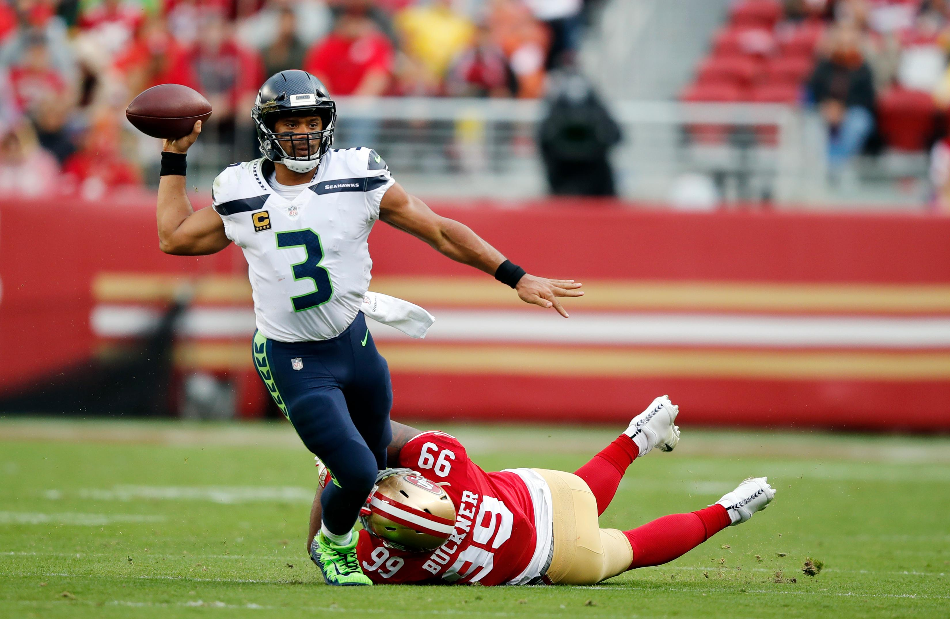 Russell Wilson has been putting up MVP numbers. Can he continue the run against the Eagles. (AP file photo)<p></p>