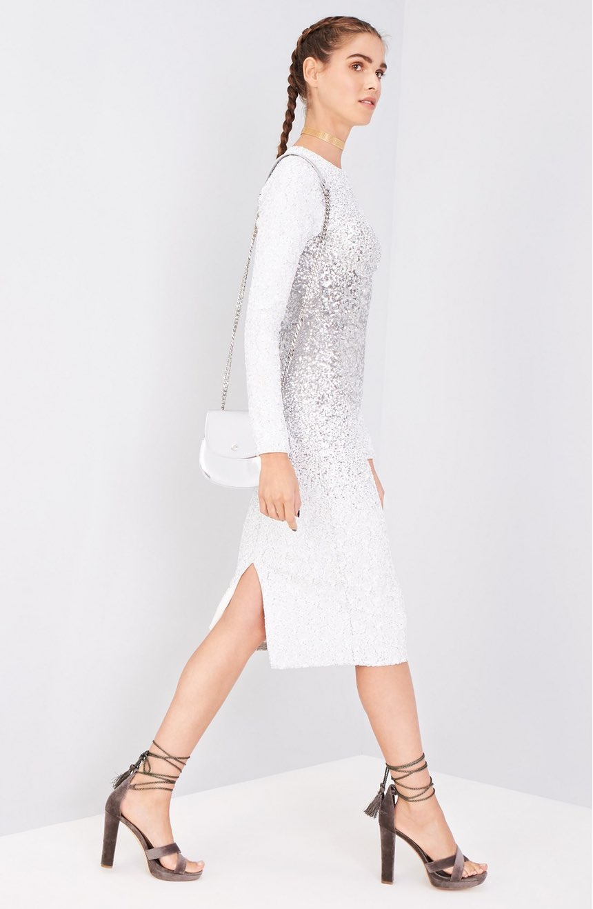 This 'Sequin Midi Dress' is a straight up SHOW STOPPER!  Love the braided hair with it. $258.00 (Image: Nordstrom)