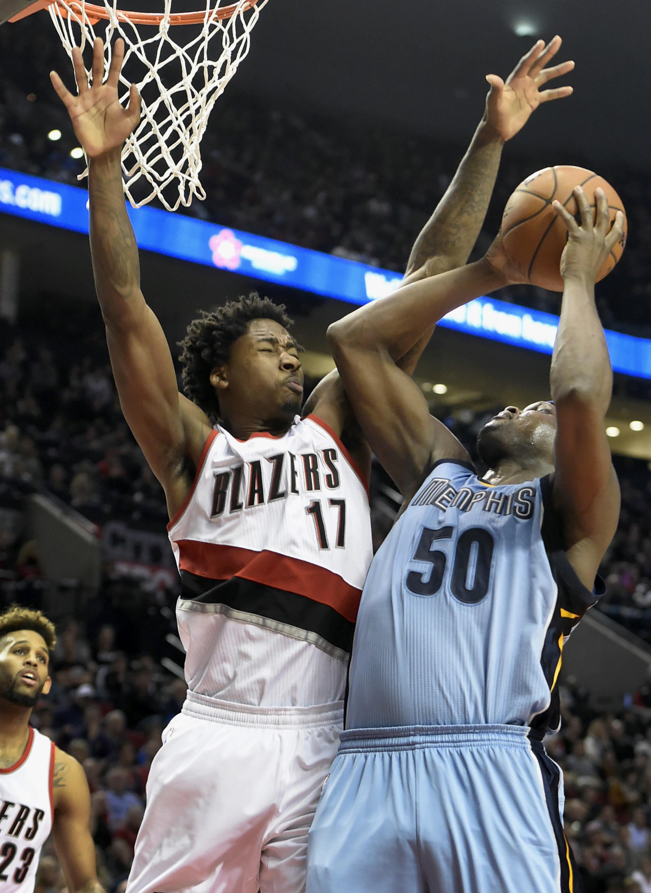 Zach randolph memphis grizzlies - Memphis Grizzlies Forward Zach Randolph 50 Shoots Against Portland Trail Blazers Center Ed Davis