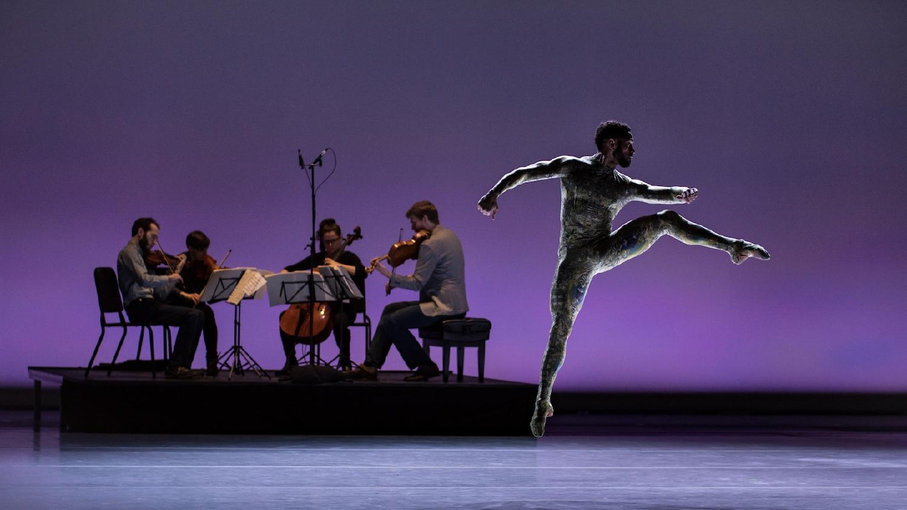 "James Gilmer and the Ariel Quartet in Adam Hougland's ""Cut To The Chase."" Cincinnati Ballet performs ""Bold Moves"" March 17-18 at the Aronoff Center. / Image: Peter Mueller // Published: 3.17.17"