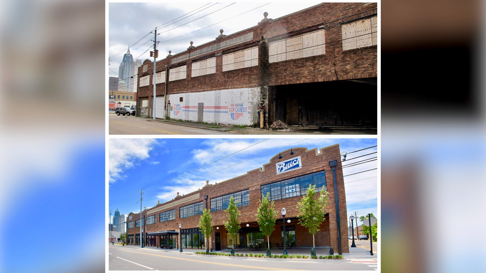 <p>Buick Building on St. Louis Street before and after restoration (photo: alabamanewscenter/Jack Helean)</p>