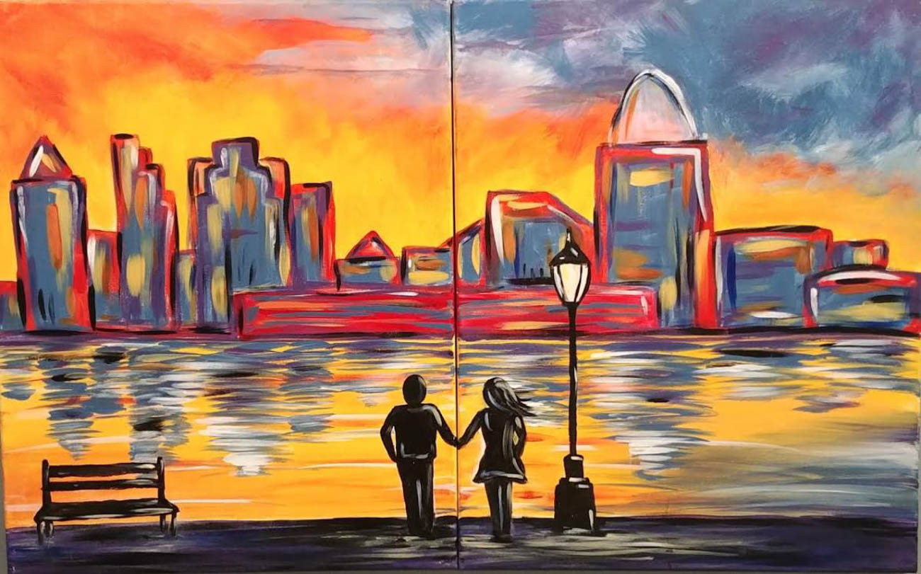 "OPTION #9: You can get your craft on this Thursday at Uptown Art. The Valentine's Day Date Night will teach you how to paint this ""Couple's Cincinnati Skyline"" piece with your special someone for $34. Drink specials include a variety of wines and national and local beers. ADDRESS: 7713 Beechmont Avenue (45255) / Image courtesy of Uptown Art // Published: 2.12.19"