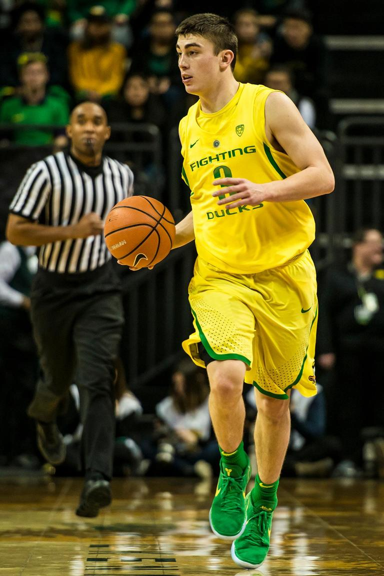 Oregon's Payton Pritchard in their matchup against ASU at Matthew Knight Arena Thursday. Oregon defeated ASU 75-68 to improve their season record to 18-10 (8-7 PAC-12). The Ducks face off against fourteenth ranked Arizona for their final home game of the season at Matthew Knight Arena on Saturday. (Photo by Colin Houck)
