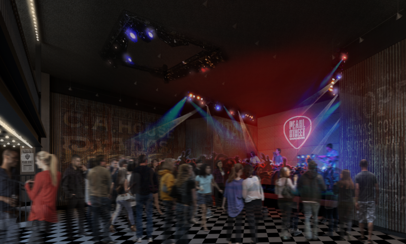 Pearl Street Warehouse, a 300-person live music venue coming to the Wharf, announced its opening act and subsequent shows through early December today. (Rendering: Courtesy Pearl Street Warehouse)