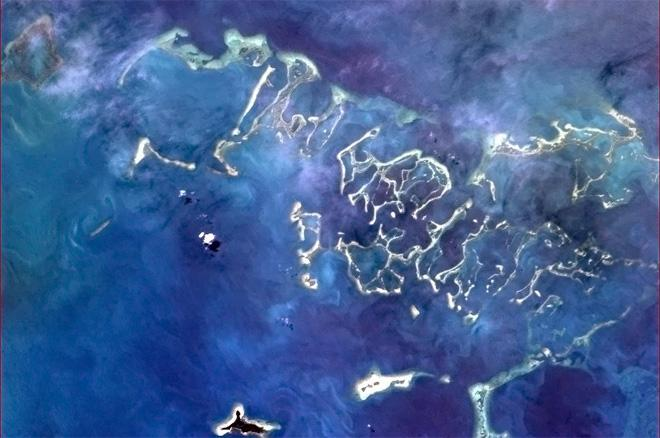 This Cuban coral reef redefines the colour blue (Photo & Caption: Col. Chris Hadfield, NASA)