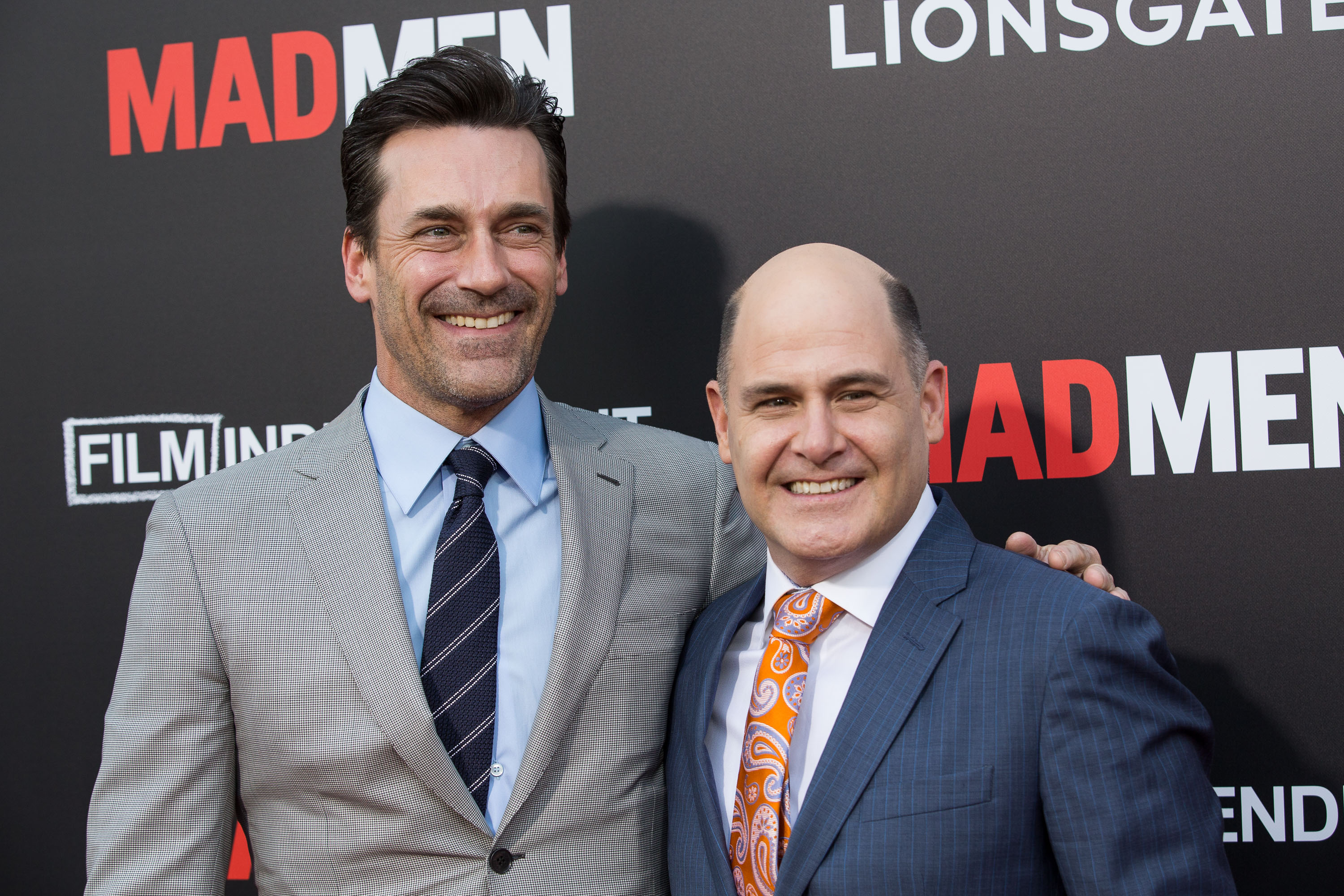 "Celebrities attend AMC and Film Independent Celebration ""Mad Men: Live Read & Series Finale"" at The Theatre at Ace Hotel Downtown Los Angeles.                                    Featuring: Jon Hamm, Matthew Weiner                  Where: Los Angeles, California, United States                  When: 17 May 2015                  Credit: Brian To/WENN.com"
