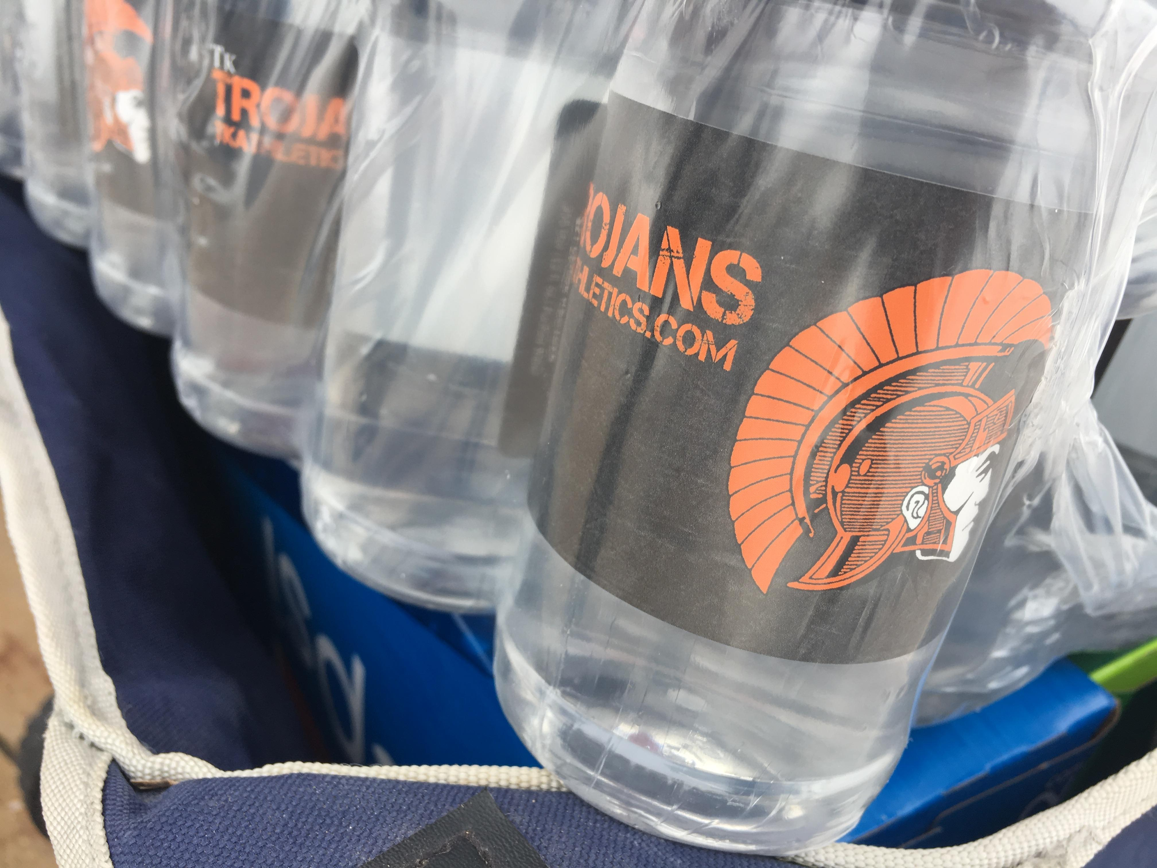 Bottled water is ready to be handed out to service workers and first responders in the Thornapple Kellogg community.{ }Students handed them out to thank those who have to work in these winter conditions. Feb. 14, 2019.{ } (WWMT/Jason Heeres)