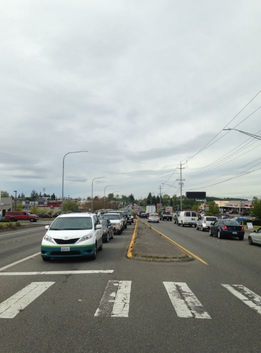 The blocked traffic in Mukilteo. (Photo: Mukilteo Police Department)