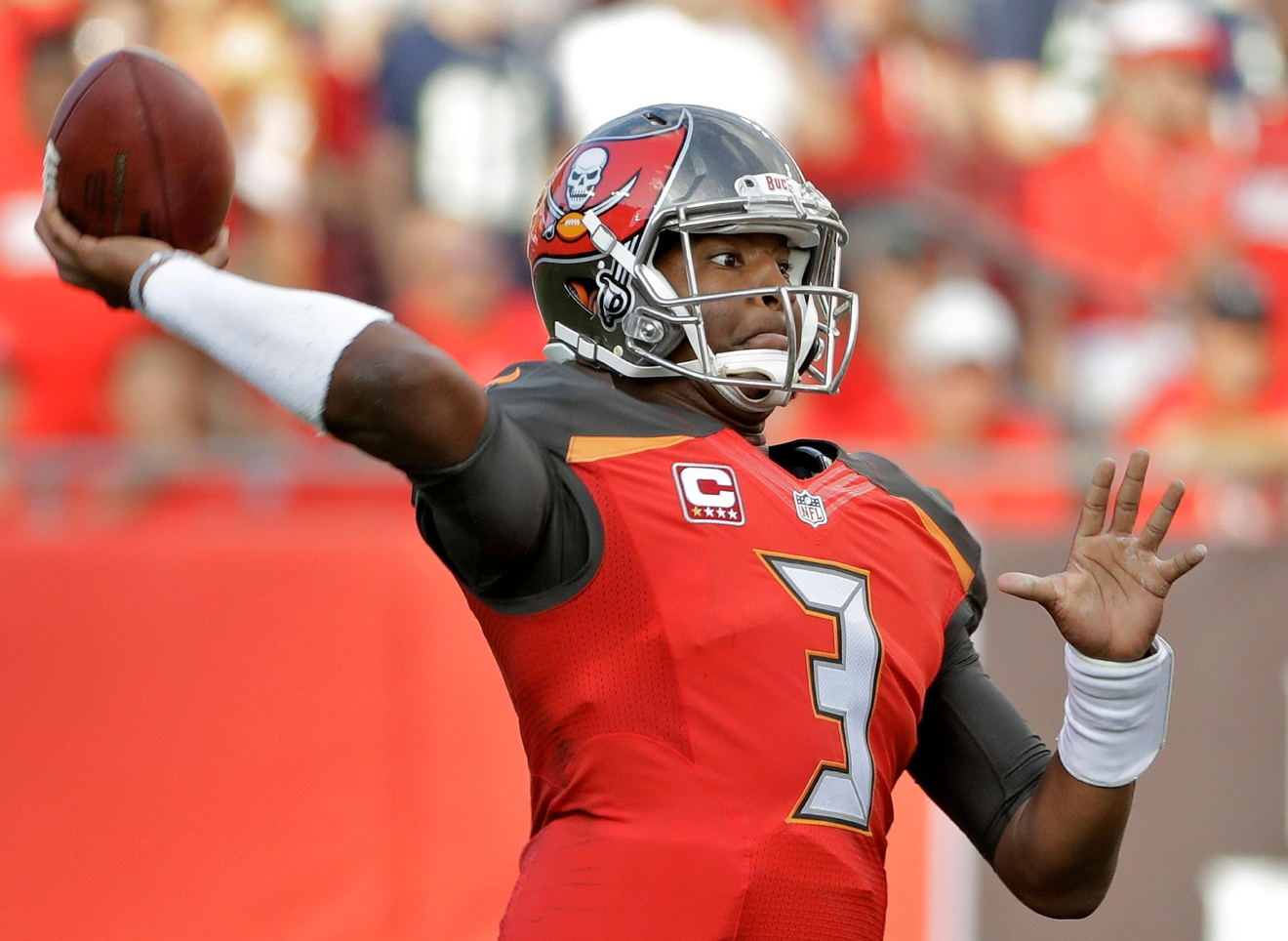 Tampa Bay Buccaneers quarterback Jameis Winston (3) throws a pass against the Seattle Seahawks during the first quarter of an NFL football game Sunday, Nov. 27, 2016, in Tampa, Fla. (AP Photo/Chris O'Meara)