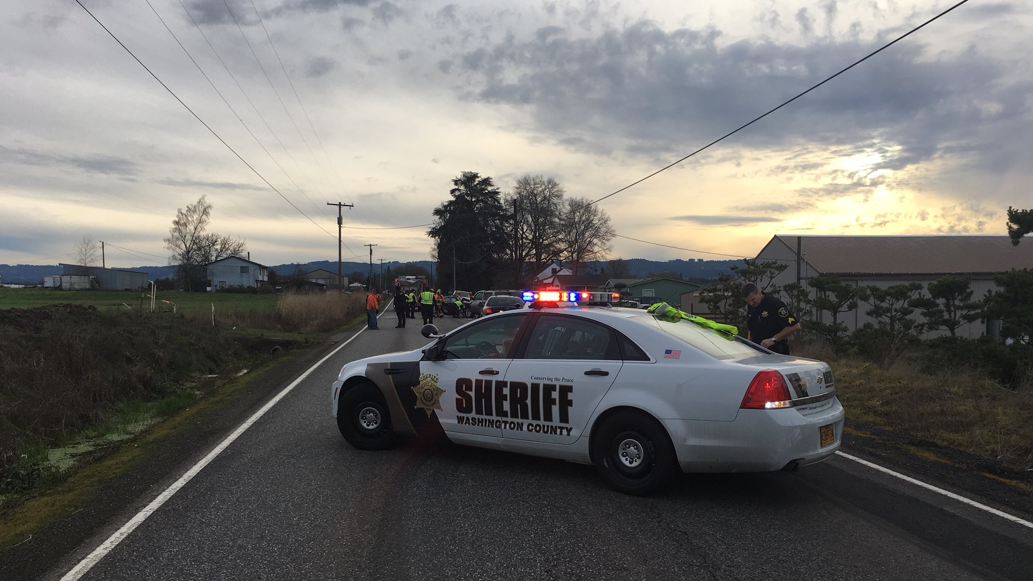 Deadly crash on SW River Road south of the Farmington intersection - Photo from the Washington County Sheriff's Office<p></p>
