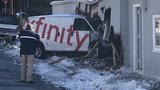 Van crashes into a building after domestic dispute, suspect is on the run