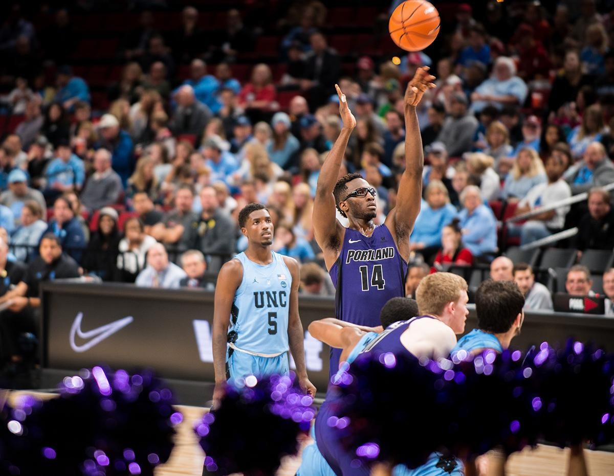The Phil Knight Invitational Tournament in Portland started off Thanksgiving morning with a matchup between the University of Portland Pilots and the University of North Carolina Tar Heels. The PK80 is a college hoops tournament that brings together 16 teams from across the country. (KATU photo by Tristan Fortsch on 11/23/2017)