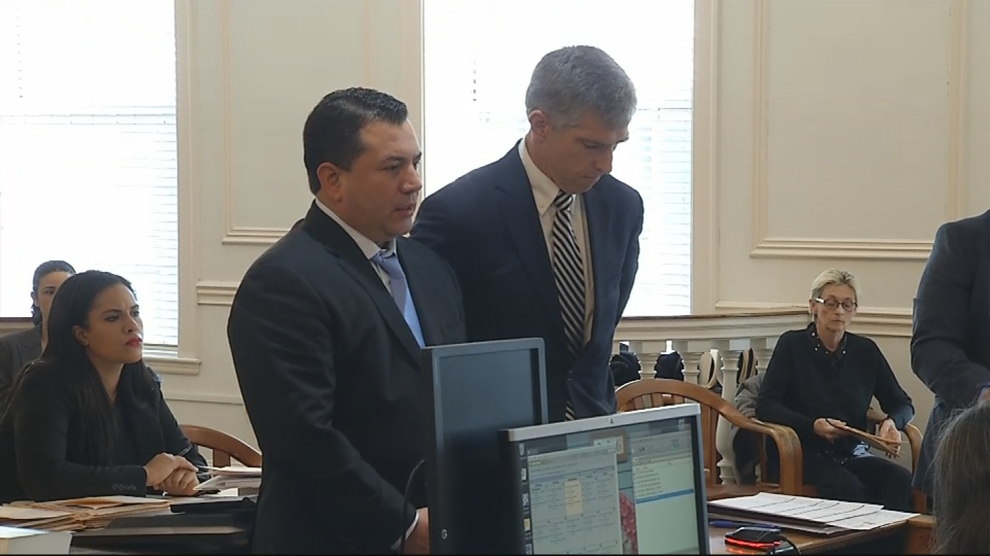 John Florez is arraigned in Newport District Court on a charge of making an obscene phone call, Wednesday, Dec. 13, 2017. (WJAR)<p></p>