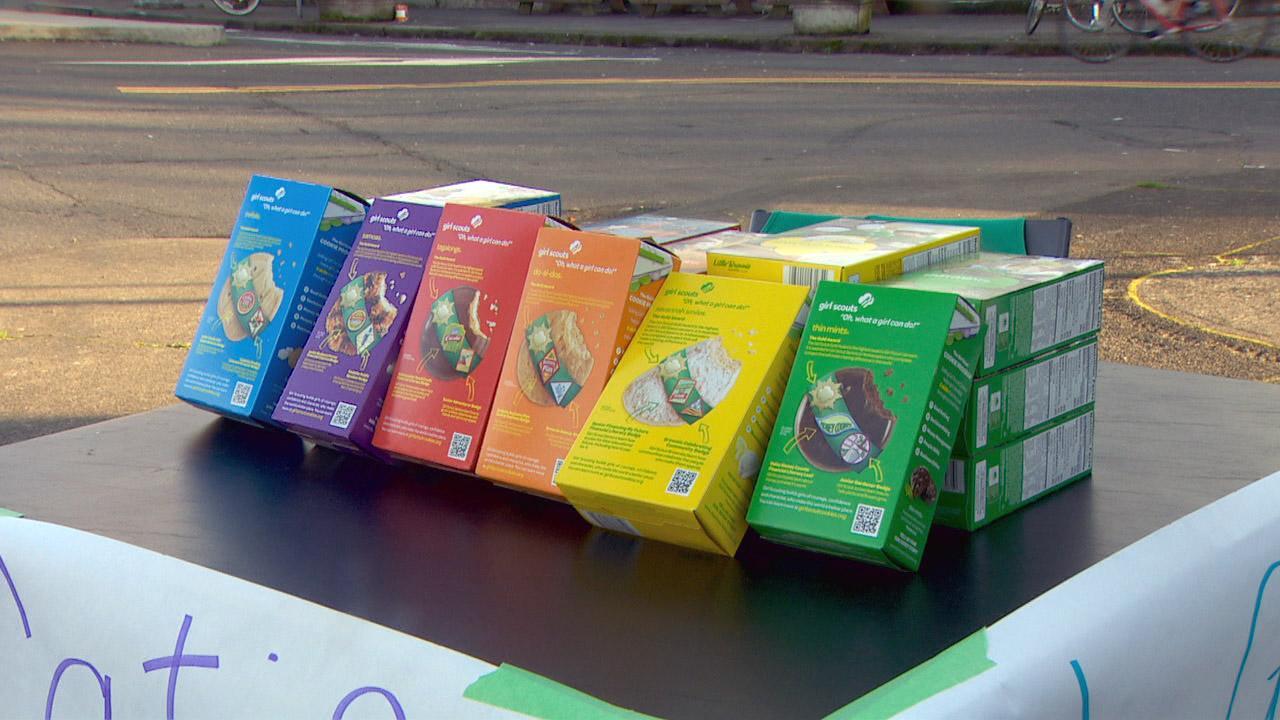 girl scout sells cookies outside portland pot shop it s