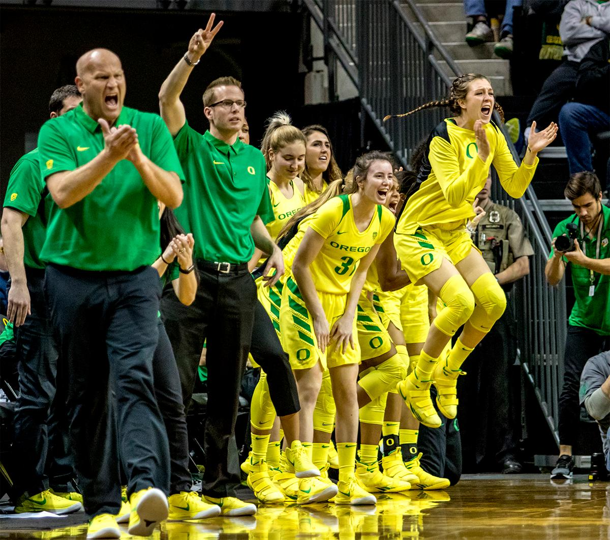 The Duck's celebrate one of Lexi Bando's game ending three-pointers. The Oregon Ducks defeated the USC Trojans 80-74 on Friday at Matthew Knight Arena in a  game that went into double overtime. Lexi Bando sealed the Ducks victory by scoring a three-pointer in the closing of the game. Ruthy Hebard set a new NCAA record of 30 consecutive field goals, the old record being 28. Ruthy Hebard got a double-double with 27 points and 10 rebounds, Mallory McGwire also had 10 rebounds. The ducks had four players in double digits. The Ducks are now 24-4, 13-2 in the Pac-12, and are tied for first with Stanford. Photo by August Frank, Oregon News Lab