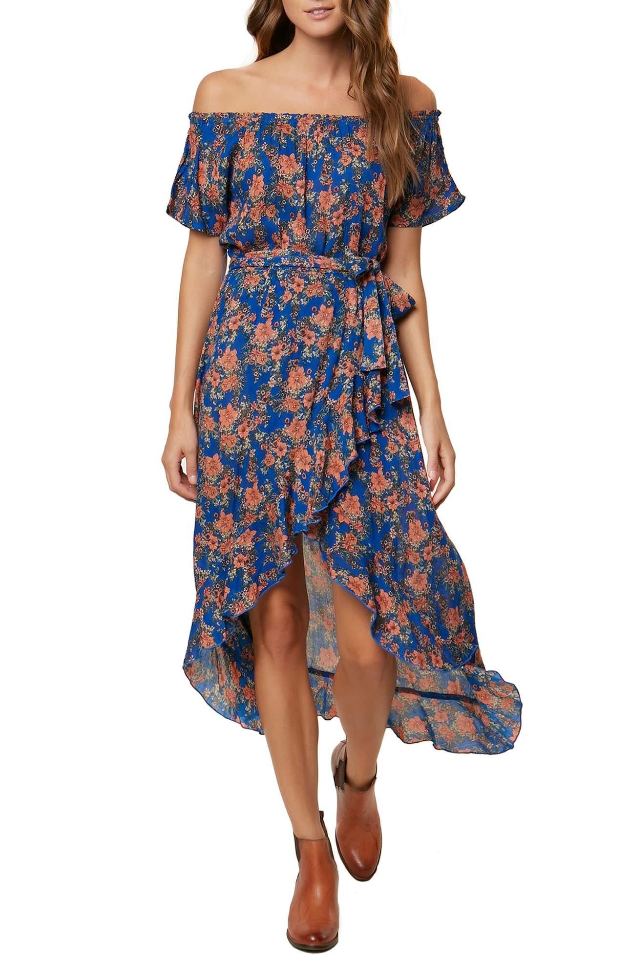 <p>Constance Woven Wrap Maxi Dress/O'NEILL.{&amp;nbsp;}Bring back the boho beat when you wrap yourself in this frilly, floral, front-slit dress from Constance Woven Wrap Maxi Dress/O'NEILL.$64.00 at Nordstrom. (Image: Nordstrom)</p><p><br></p><p></p>