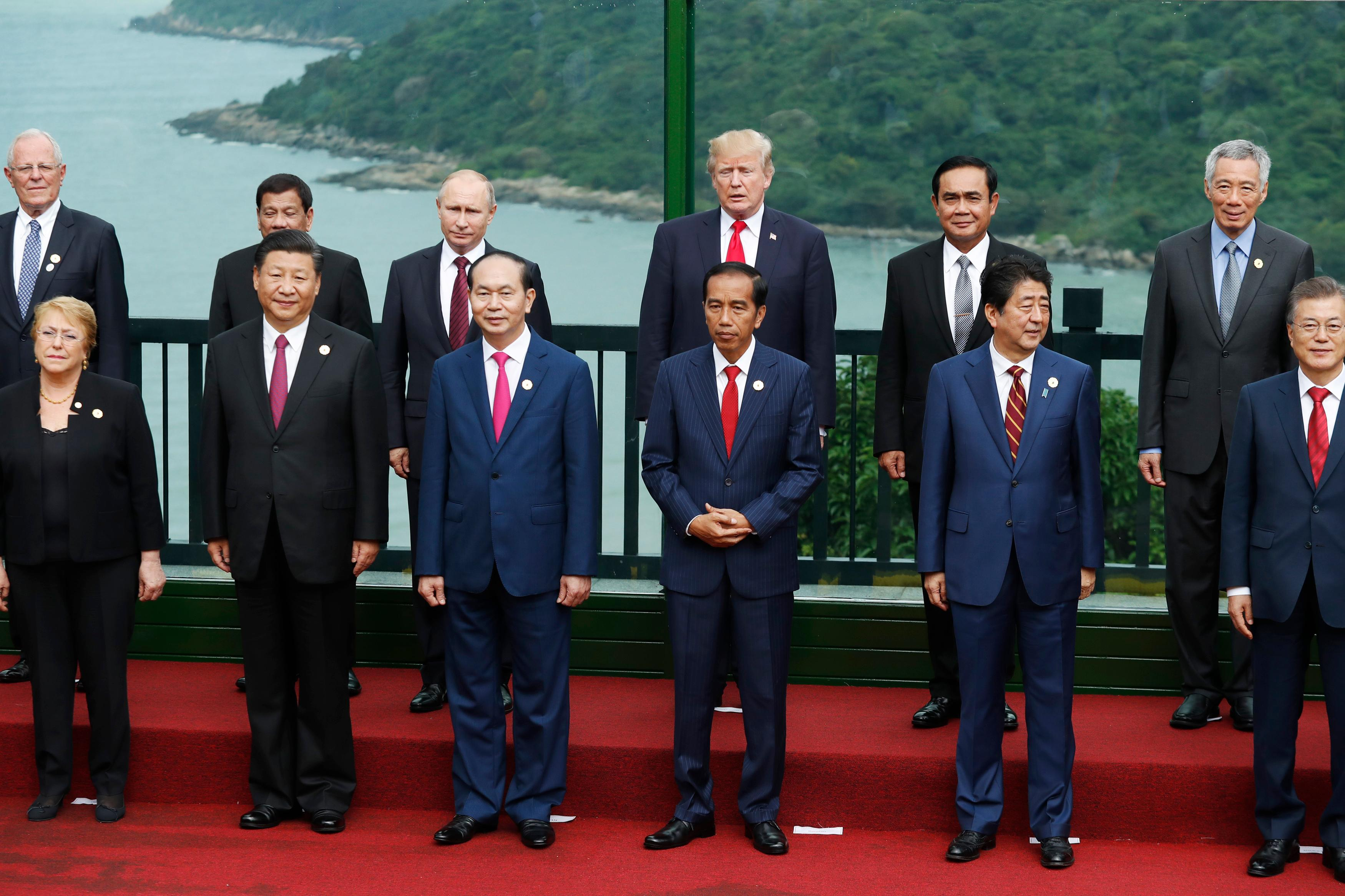 Leaders pose during the family photo session at the APEC Summit in Danang, Vietnam Saturday, Nov. 11, 2017. {&amp;nbsp;}(Jorge Silva/Pool Photo via AP)<p></p>
