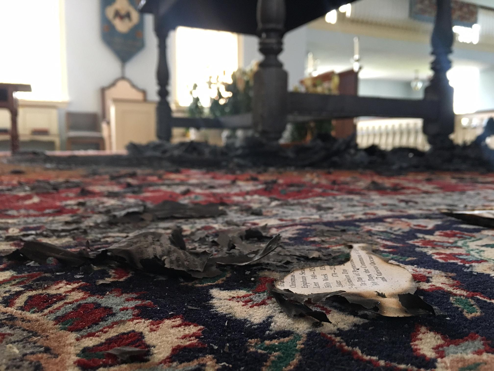 The Rev. Lisa Graves said it appeared some sort of kindling was used to start a fire on the main altar. (WCHS/WVAH)
