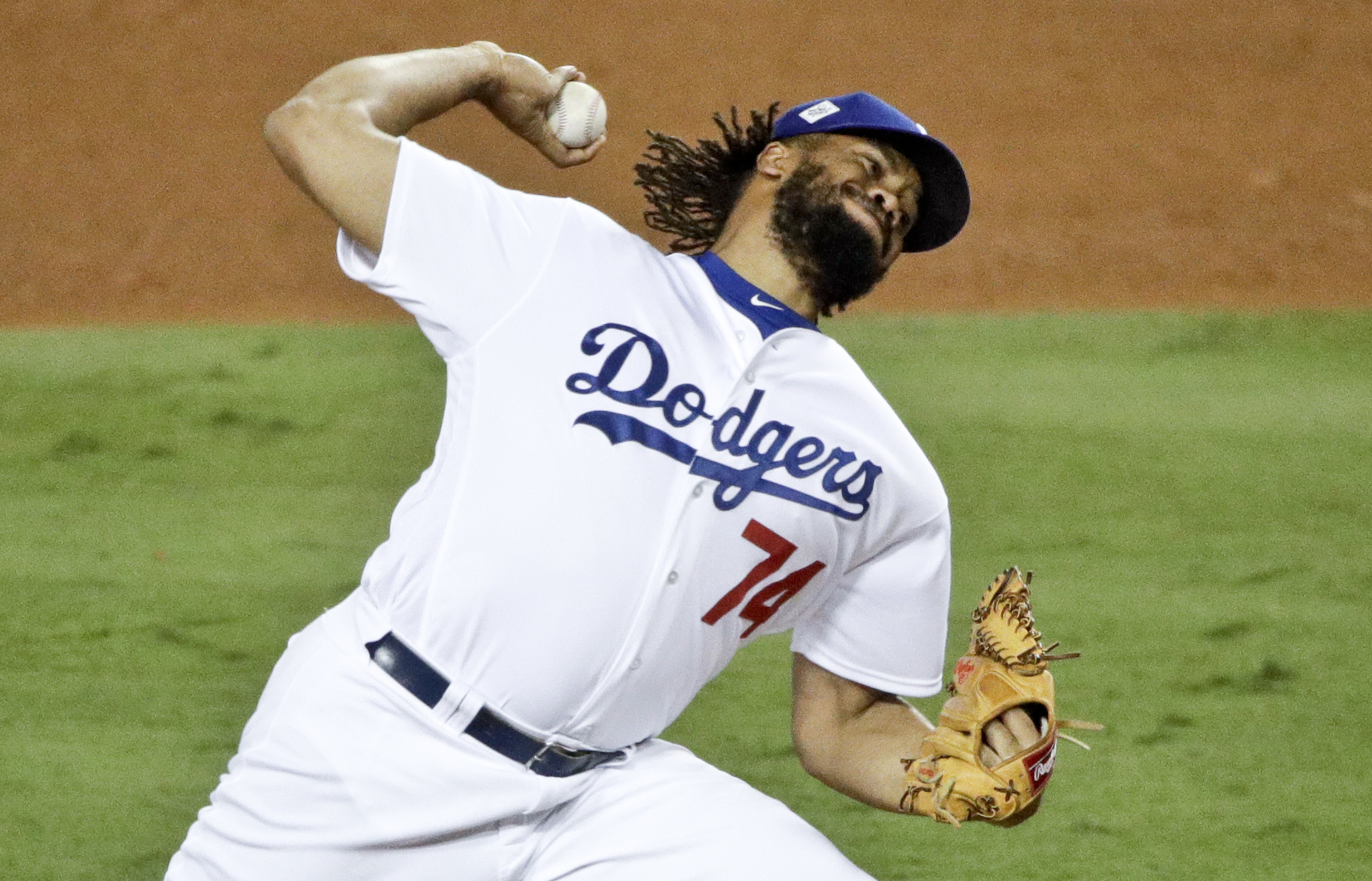 Los Angeles Dodgers relief pitcher Kenley Jansen throws against the Houston Astros during the seventh inning of Game 7 of baseball's World Series Wednesday, Nov. 1, 2017, in Los Angeles. (AP Photo/Jae C. Hong)