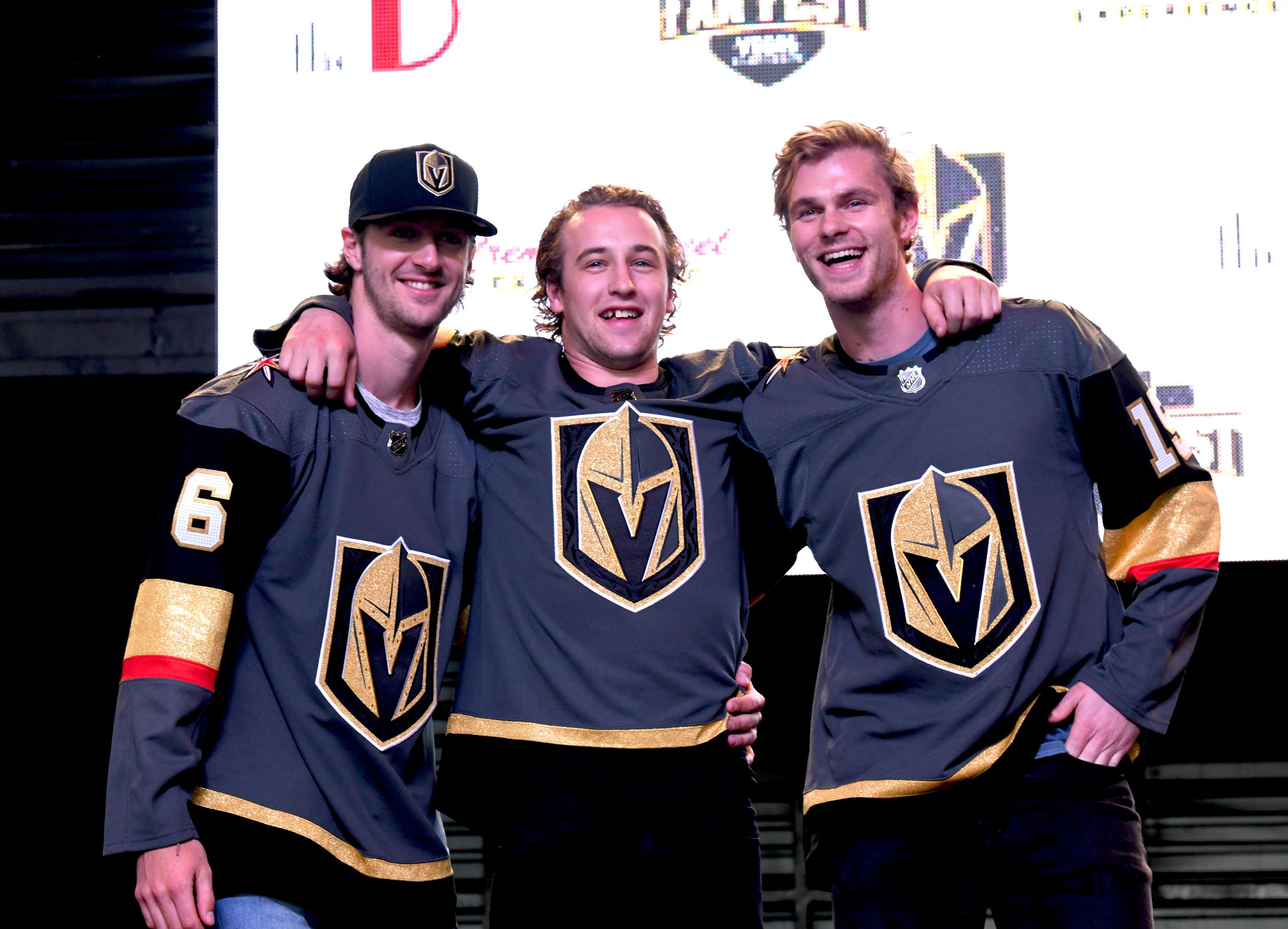 The Golden Knights host a Fan Fest with the D Las Vegas and Fremont Street Experience. Las Vegas Golden Knights hockey players Colin Miller (l), Brendan Leipsic (c) and  Jon Merrill (r) enjoy the roar of the fans as the team takes the stage at Fremont Street Experience. Sunday, January 14, 2017. CREDIT: Glenn Pinkerton/Las Vegas News Bureau