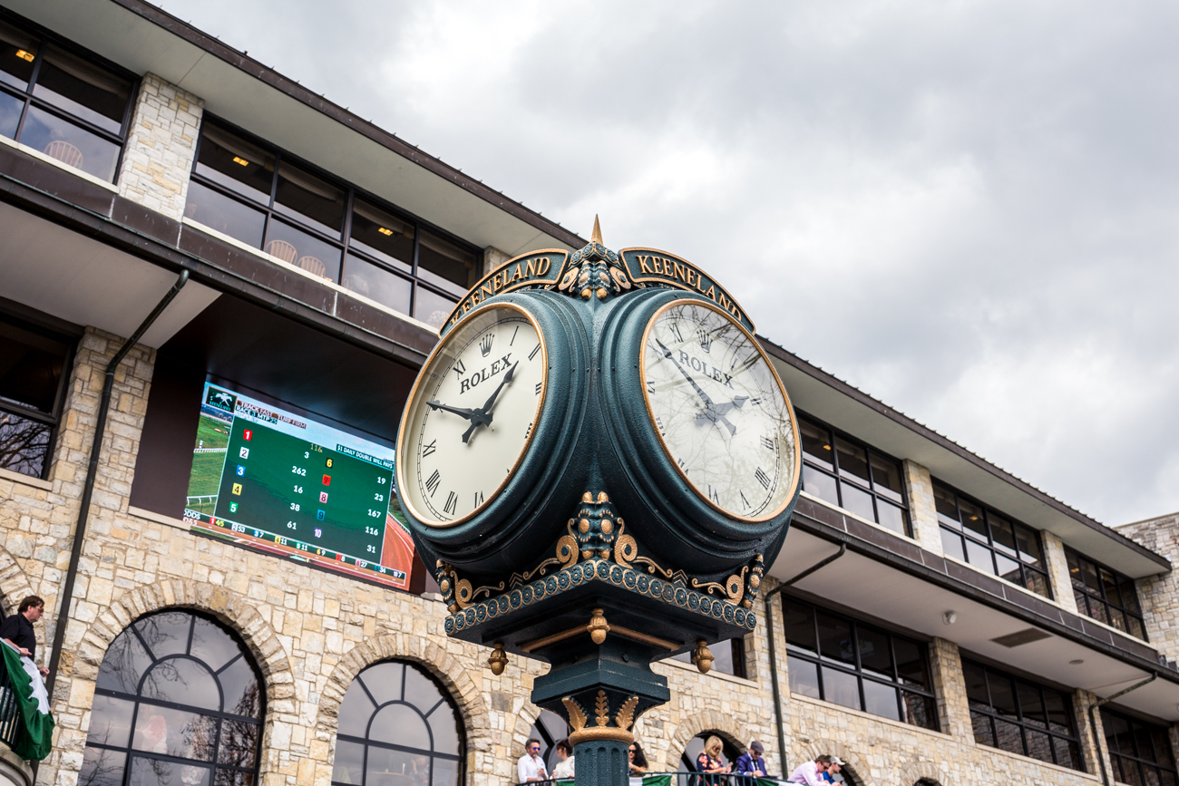 "{ }The famous ""Rolex Clock"", located in the paddock area of Keeneland. / Image courtesy of Catherine Viox // Published:{ }4.12.19"