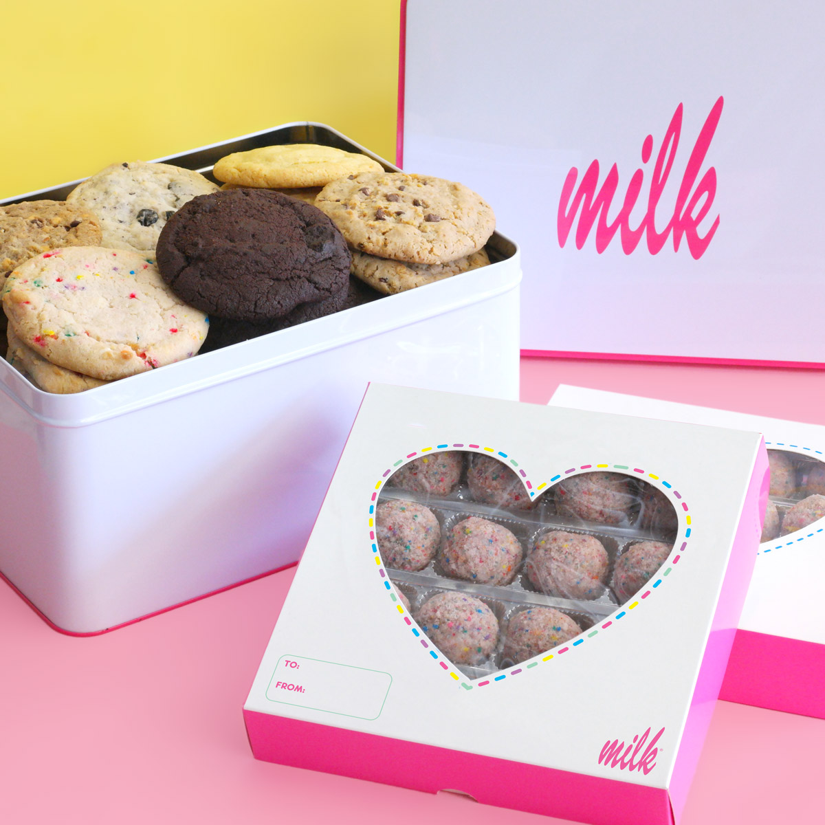 Milk Bar truffle box and cookie tin // Price: $50-$95 // (Image: Milk Bar)