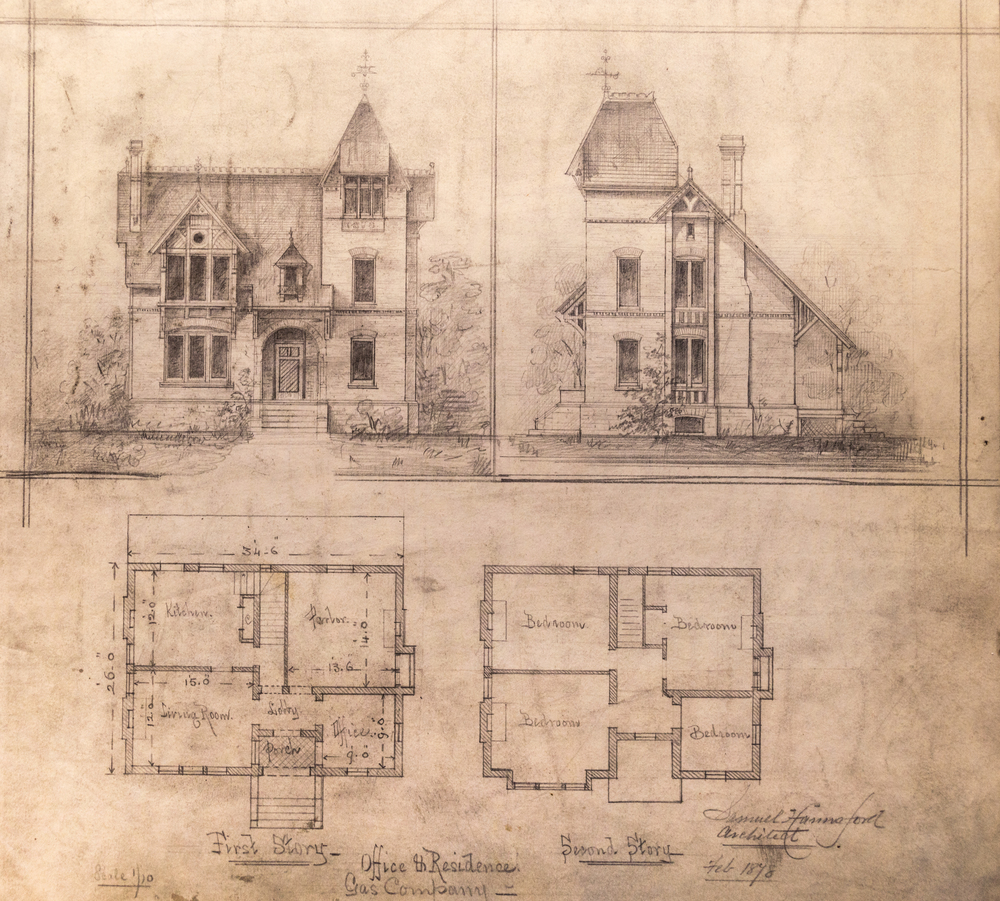 Many of Samuel Hannaford's original, hand-drawn sketches can be found in two large binders in the Cincinnati Room of the Cincinnati Public Library. The drawings were done between 1873 and 1884. They feature a mix of the pencil and pen, and they are available for the public to see while the Cincinnati Room is open. / Image: Phil Armstrong, Cincinnati Refined / Published: 1.27.17