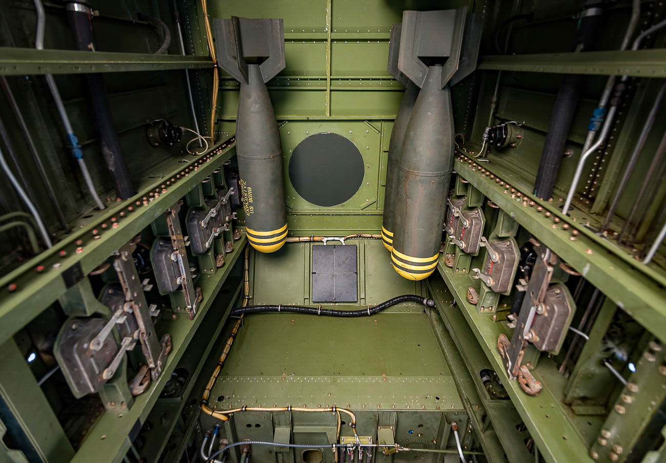 The bomb bay of the plane is configured to carry a variety of different sized bombs. In order to fly across the Atlantic Ocean to film Catch-22, The Tri-State Warbird Museum configured the aircraft with a 325-gallon auxiliary fuel tank that filled up the bomb bay.{ }/ Image: Phil Armstrong, Cincinnati Refined // Published: 10.15.19