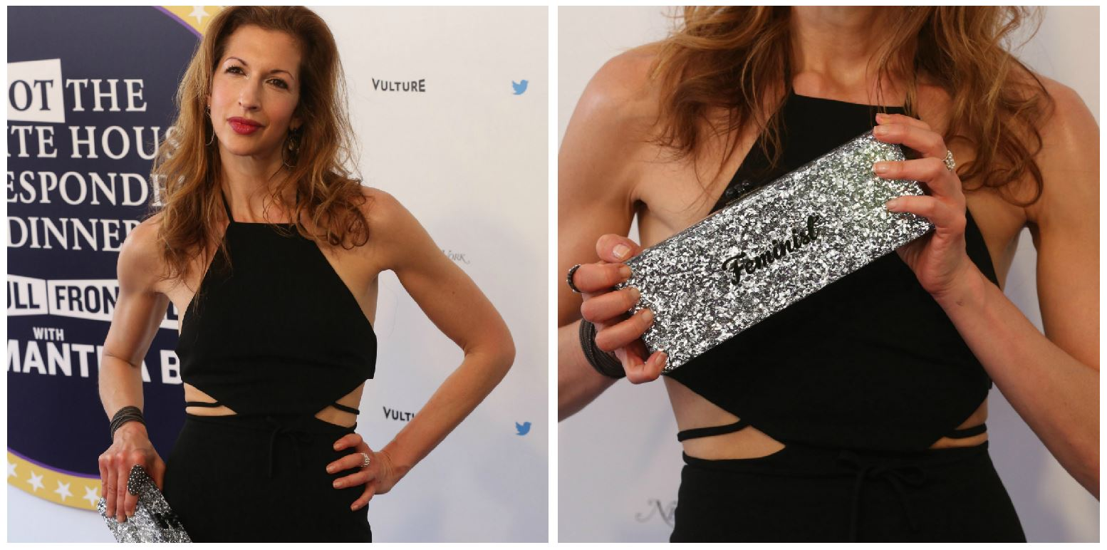 Alyssa Reiner of Orange is the New Black also brought out the feminist accessories, but her clutch was a little more low-key.{ } On the red carpet of Samantha Bee's 'Not The White House Correspondents' Dinner.'{ } (Amanda Andrade-Rhoades/DC Refined)