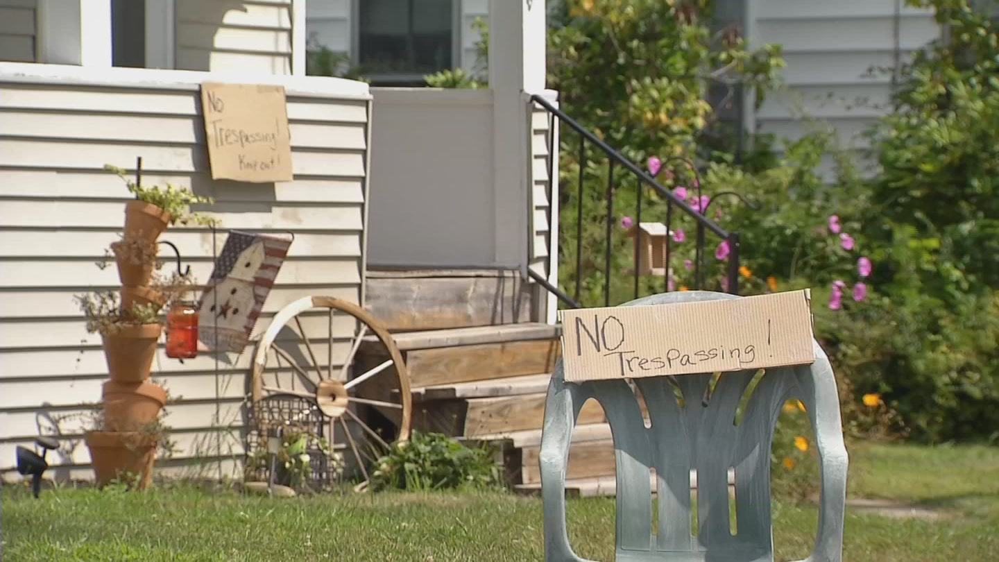 NECN reported that there are now no trespassing signs on Hubert's front lawn. (NECN)