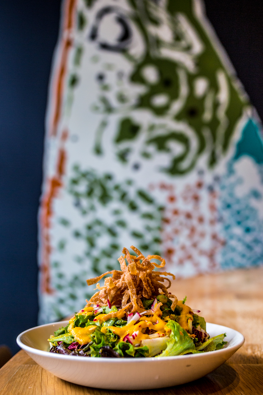 Carrot Ginger Salad: mixed greens, radicchio, radish, crispy wonton, and carrot ginger dressing / Image: Catherine Viox{ }// Published: 9.9.19
