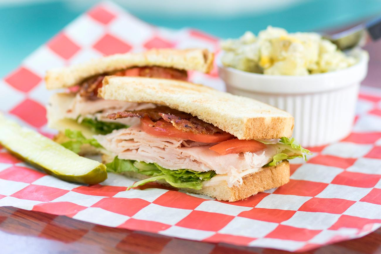 Turkey club and potato salad{ }/ Image: Allison McAdams // Published: 11.16.18