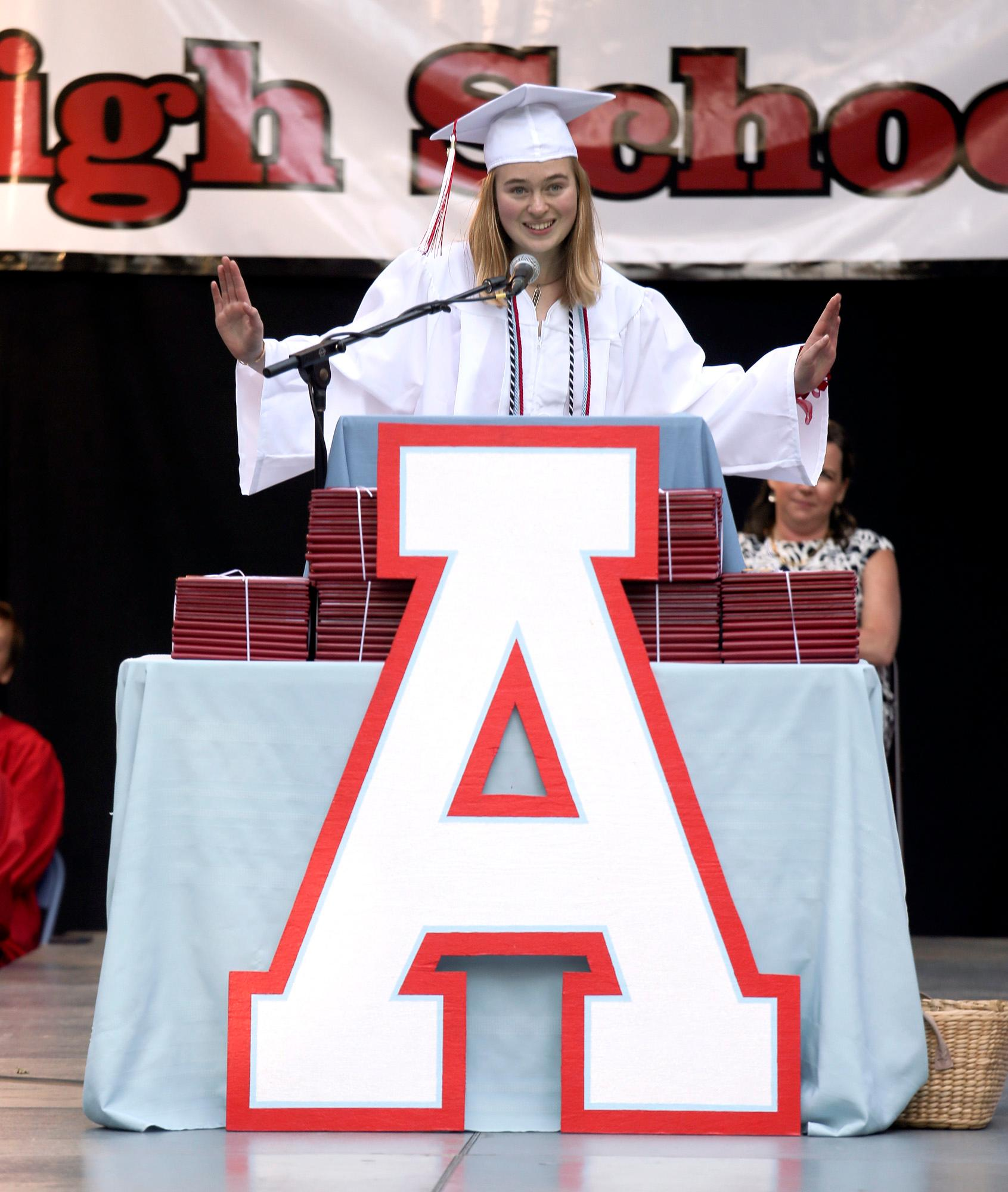 Student Speaker Zaida LaRose during the Ashland High Class of 2018 Commencement Ceremony at Lithia Park.   [ / PHOTO BY:  LARRY STAUTH JR]