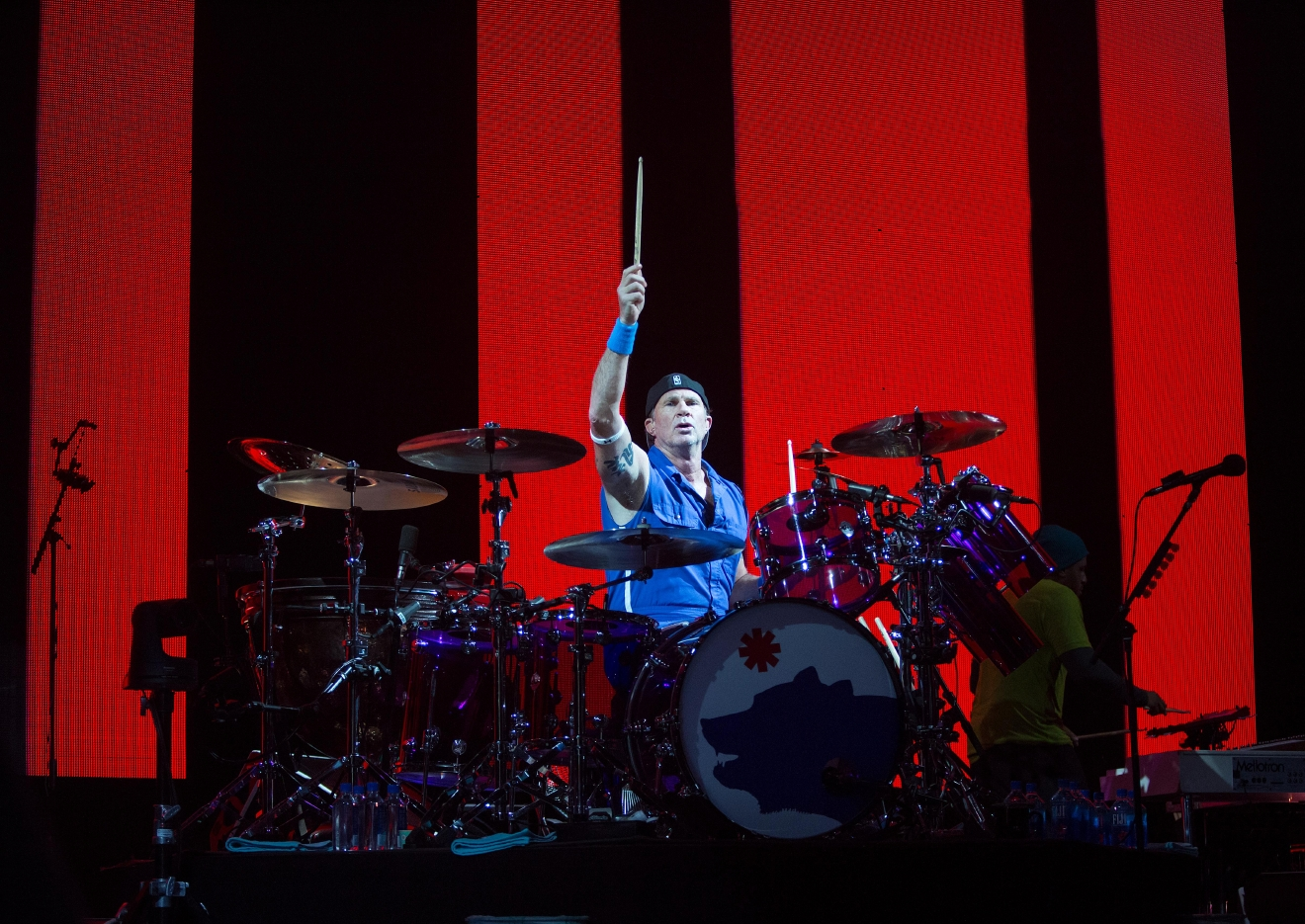 Drummer Chad smith jams out during the Red Hot Chili Peppers' performance at KeyArena.(Sy Bean / Seattle Refined)
