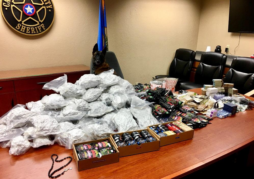 K9 Eddy with his find of almost 70 pounds of illegal drugs.{&amp;nbsp;}(Canadian County Sheriff's Office)<p></p>