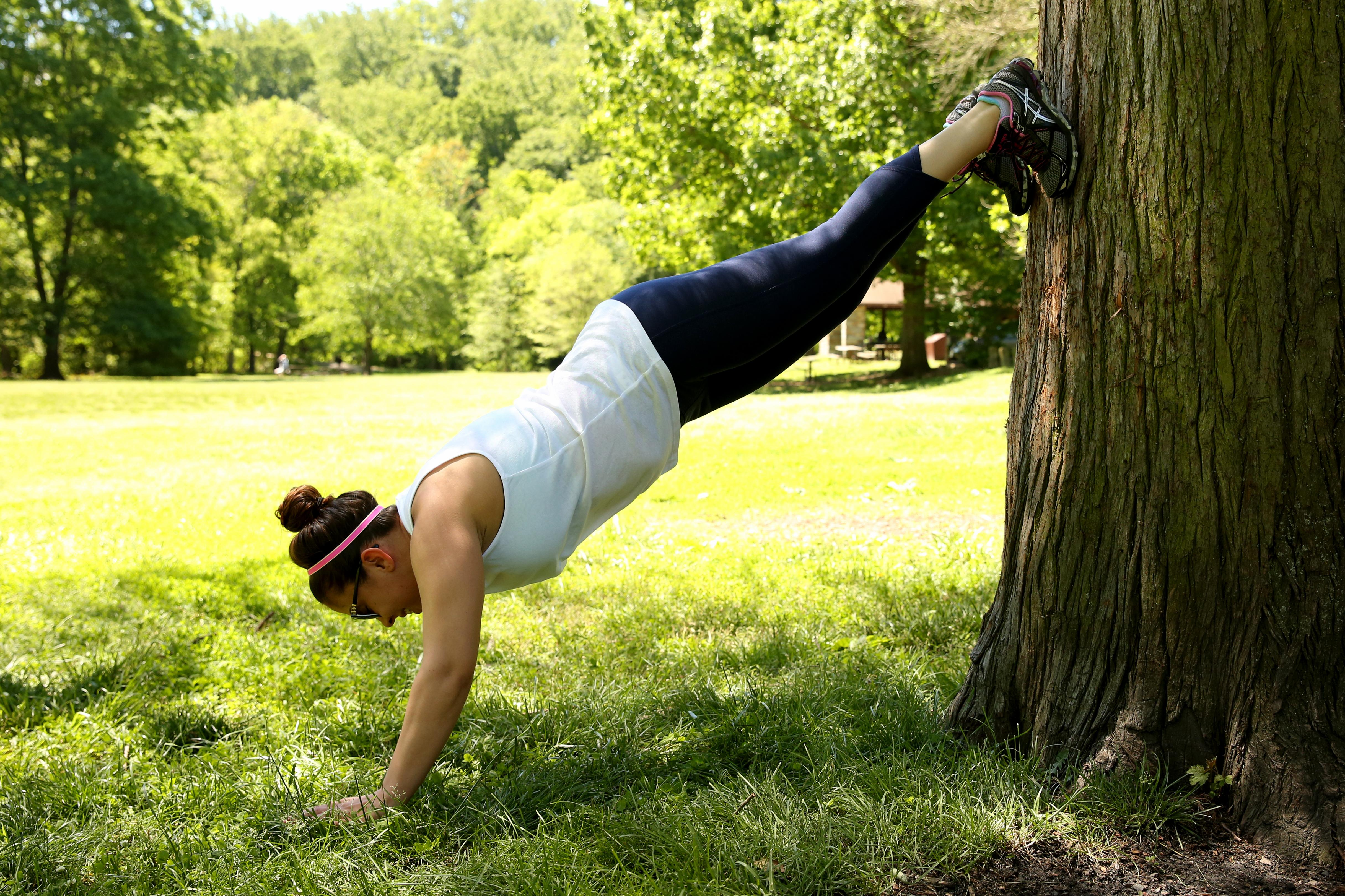 EXERCISE: Elevated plank / SETS: Hold for one minute, take one minute break. Repeat 3 times / (Amanda Andrade-Rhoades/DC Refined)
