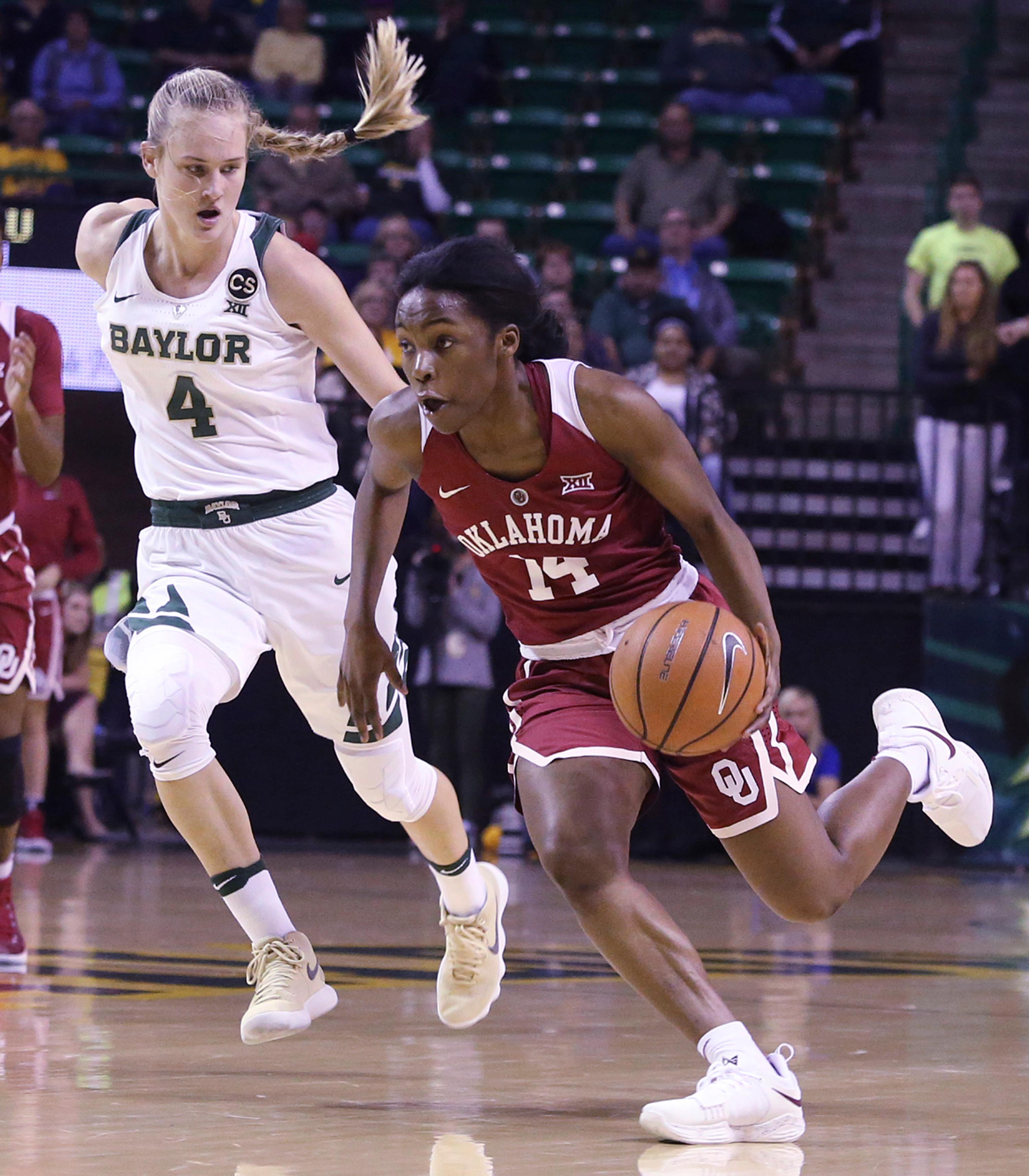 Oklahoma guard Shaina Pellington, right, drives the ball up court against Baylor guard Kristy Wallace, left, during the first half of an NCAA college basketball game, Monday, Feb. 5, 2018, in Waco, Texas. (AP Photo/Jerry Larson)