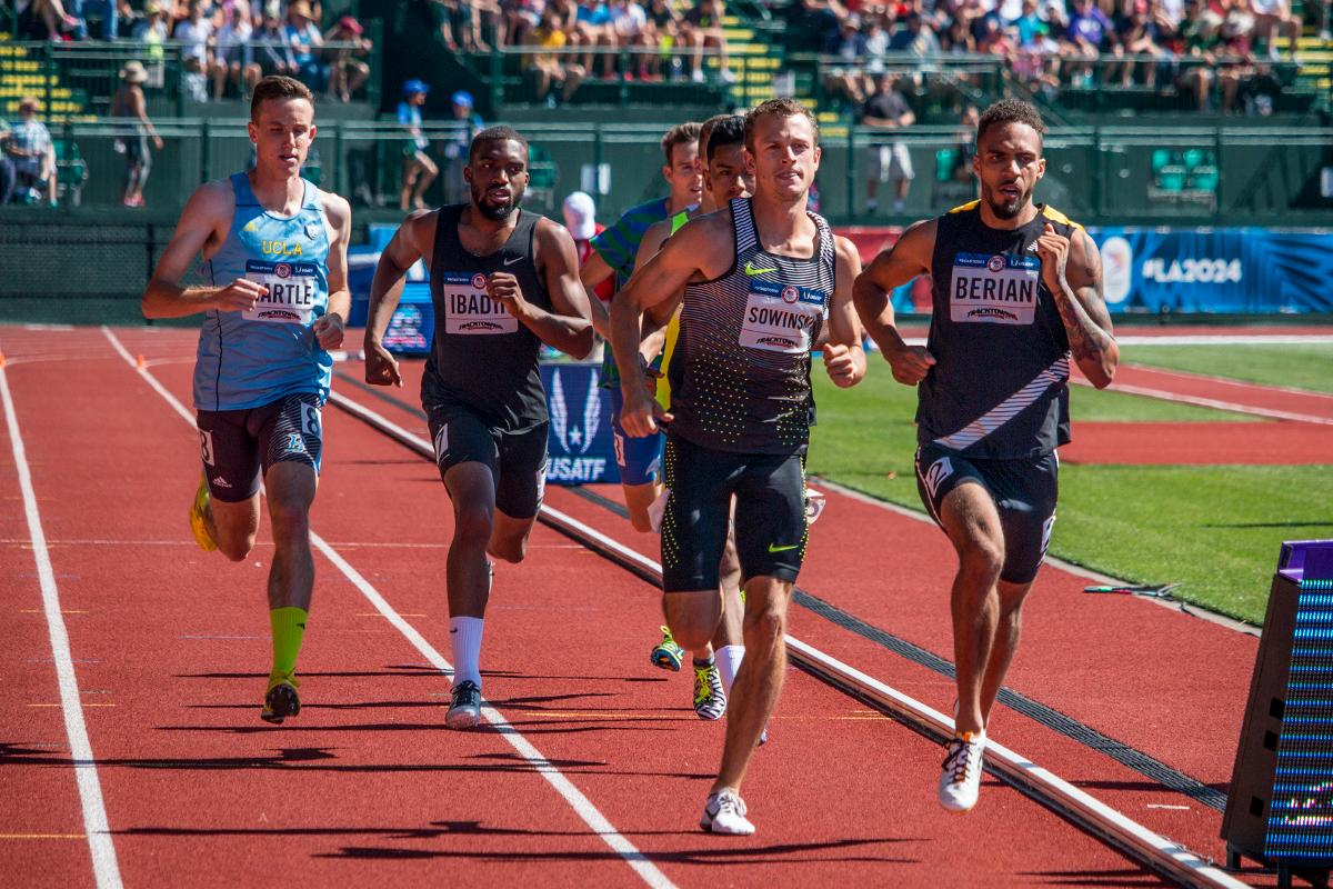 Nick Hartle, Edose Ibadin, Nike�s Erik Sowinski and Boris Berian compete in the second heat of the prelims for the men�s 800 meter run. Berian and Sowinski qualified for the finals on Thursday with 1:46.03 and 1:46.17. Day One of the U.S. Olympic Trials Track and Field began on Friday at Hayward Field in Eugene, Ore. and will continue through July 10. Photo by Katie Pietzold