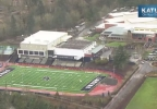 Lake Oswego walk-out to protest racist graffiti - Photo from KATU Chopper 2.jpg
