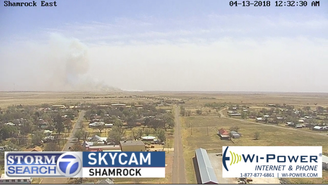 <p>Fire crews are working a fire east of Shamrock between Carbon Black road and I-40. (Photo Courtesy: ABC 7 Amarillo Shamrock SkyCam)</p>
