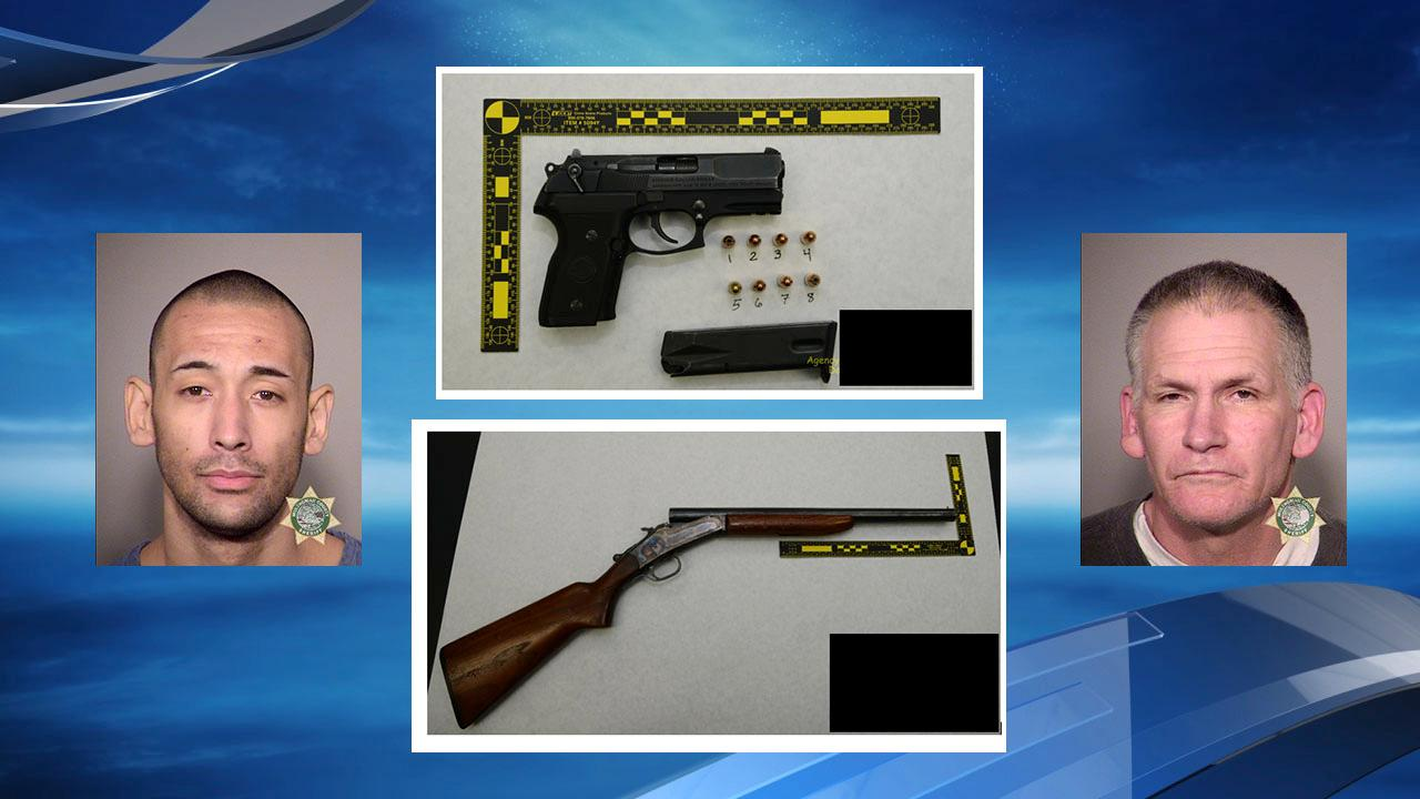 Timothy Padberg, Anthony Prater and the two weapons they had during the robbery of Rounders Bar on Saturday, Feb. 10<p></p>