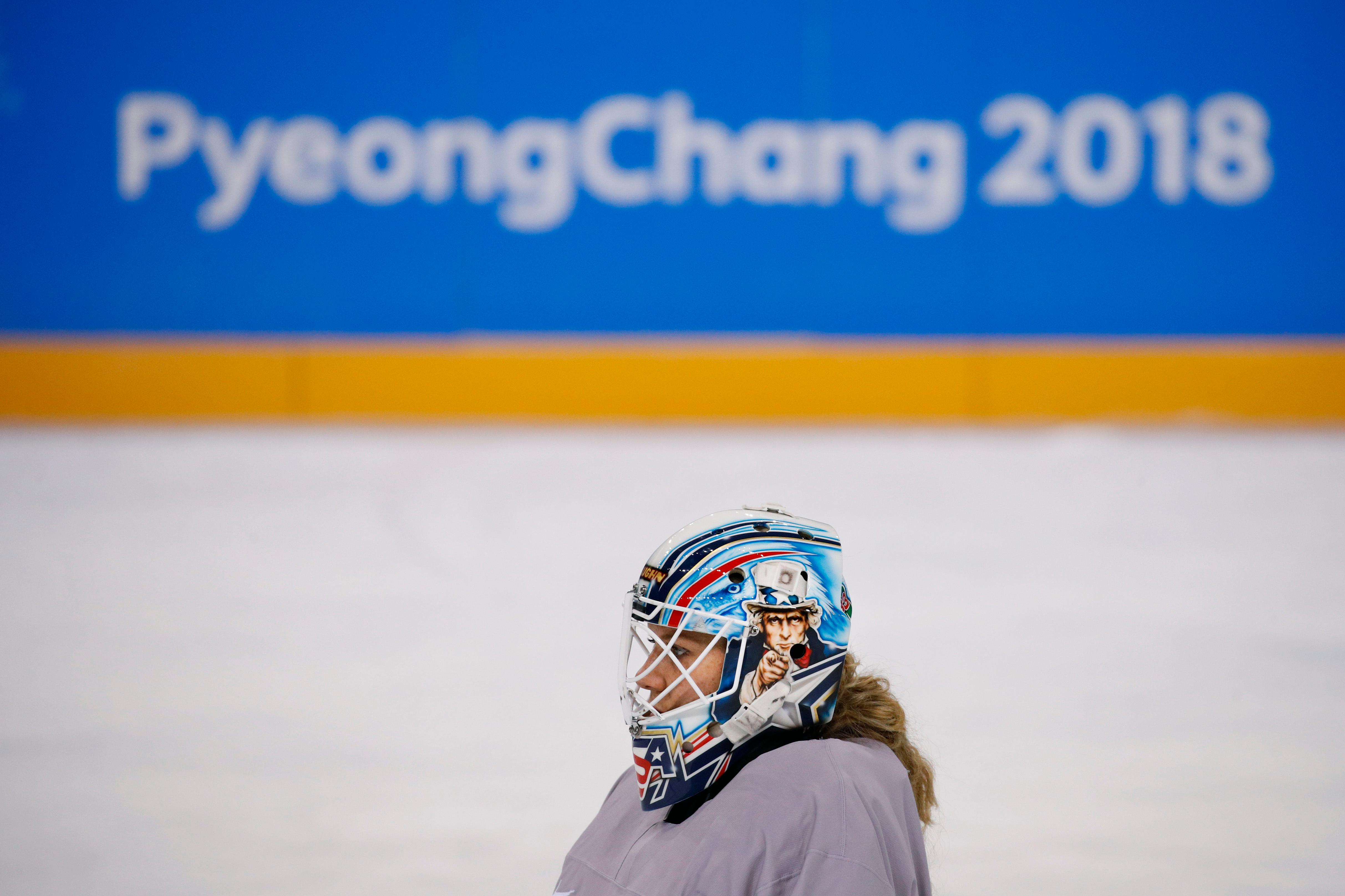 United States goalie Alex Rigsby skates on the ice during a training session prior to the 2018 Winter Olympics in Gangneung, South Korea, Sunday, Feb. 4, 2018. (AP Photo/Jae C. Hong)